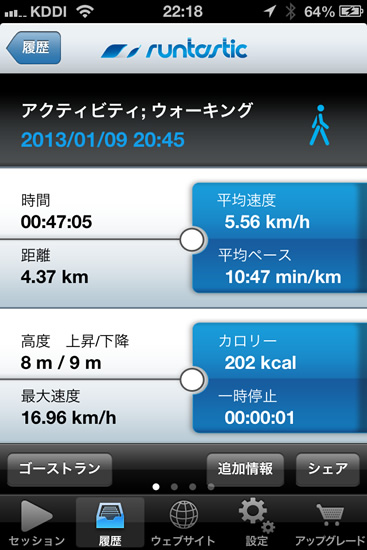 iPhoneアプリ 「runtastic」を利用して正月太りを解消していく!